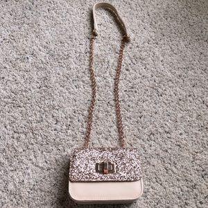 Express glitter rose gold crossbody purse